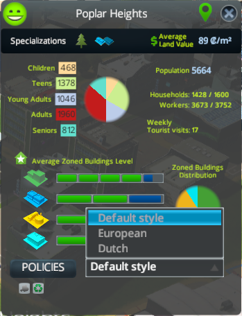 Changing the building style via the district info dialog