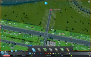 3. Click the left mouse button again at the ending point. The road is built and the zoning grid appears next to the road.